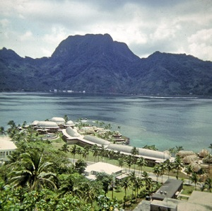 An overhead shot of the Pago Pago Intercontinental Hotel, in front of the mountain known as Rainmaker.