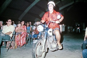 "Motorcycles roaring down the aisle during ""The Samoan Fales"" were always a big hit."
