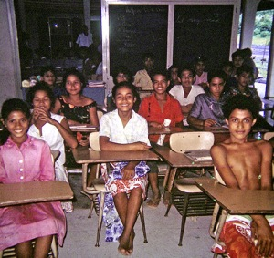 Students in a consolidated school.